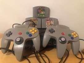 Nintendo 64 con 2 controles restaurados y 3 peliculas.