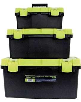 Set x 3 cajas KLATTER de herramientas todas con bandeja extraible y organizador superior como nuevas