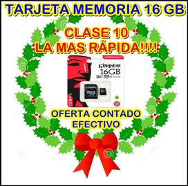 MICRO SD 16 GB CLASE 10 KINGSTON 100% ORIGINAL