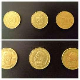 Pesos Ley 18188. Moneda de 50 pesos 1978, 1979 y 1980. San Martín