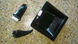 Jabonera Y 2 Percheros Color Negro