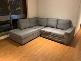 Sofá en L para 4 o 5 personas color gris
