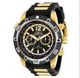 Reloj Hombre Invicta Aviator GMT Crono Dorado Negro 29919