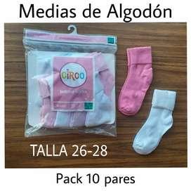 MEDIAS DE NIÑA TALLA 26-28 DE ALGODON PAQUETE DE 10 PARES