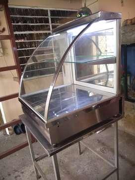 Vitrina calentador eléctrico de acero inoxidable.