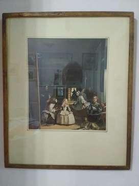 Cuadro de Las Meninas de Velázquez con marco de madera dorado