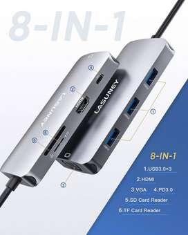 HUB 8 en 1 con USB-C PD 3.0, 4K HDMI y VGA, 3 USB 3.0, tarjetas SD, Macbook