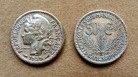 Moneda de 50 céntimos Camerún bajo administración francesa 1925