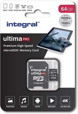 Tarjeta de memoria INTEGRAL de alta velocidad para cámara o videocámara celular y cualquier dispositivo