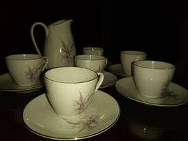 juego de 6 tazas de cafe y cremera
