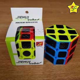 Cubo Rubik Cilindro Cortado Hexagonal 3x3 Fibra De Carbono