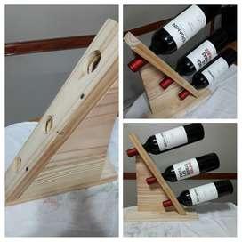 Porta Vinos de Pino Macizo