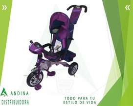 Triciclo Sombrilla Asiento Giratorio Cinturón Canasta