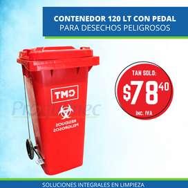 Tacho De Basura Para Desechos Peligrosos con pedal - Color Rojo