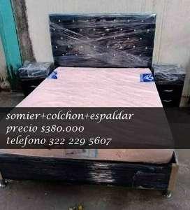somier + espaldar + colchon  cama doble / promocion en muebles