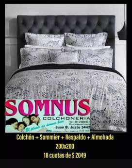 200x200 colchón + Sommier + Respaldo + Almohada