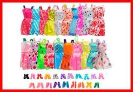 Paquete de 20 vestidos de fiesta con 20 pares de zapatos de muñeca para Barbie muñeca regalo de cumpleaños, moda