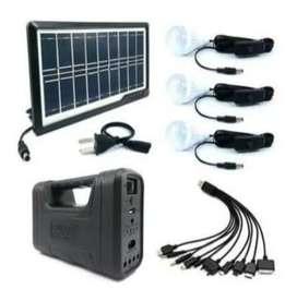 Panel Energia Solar Kit Gdlite 9v 3-7w + 3 Bombillos
