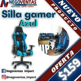 Silla gamer azul