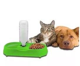 Comedor Dosificador Agua 2 En 1 Para Perros Y Gatos Mascotas