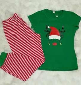 Pijamas Navidad Pantalon Y Blusa