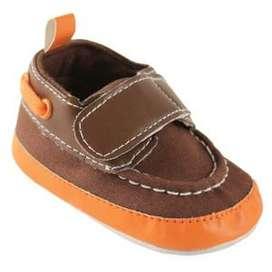 Zapatos Niño CaféNaranja con velcro