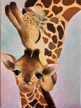 Pintura Moderna Amor Jirafal