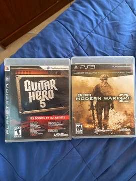 Juego Call Of Duty 2 PS3 y Guitar Hero 5 PS3
