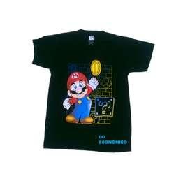 Camiseta Negra Estampada Super Mario Bross