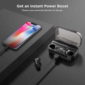 Auriculares inalámbricos Bluetooth 5.0, IPX6, 80 horas de tiempo . case carga inalámbrica, PowerBank.  Poco uso