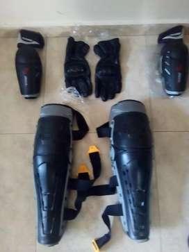 Protectores para rodillas, canilleras, codos y guantes
