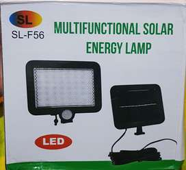 Lampara reflector led panel solar 56 led 8h movim fotocelda