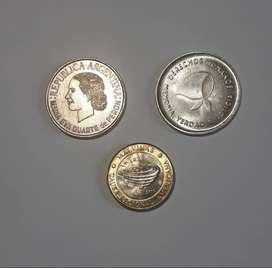 Lote de 3 monedas conmemorativas argentinas, Evita; DDHH; Malvinas