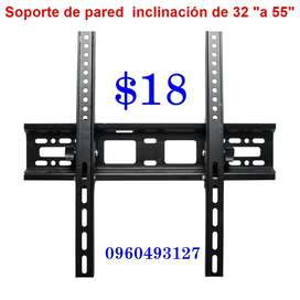 "Soporte  inclinable 14"" – 55"" a 18 USD"