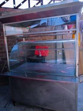 Vendo carrito de acero inoxidable para exhibidor de comida