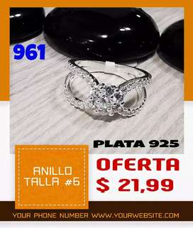Anillo de plata 925 talla #6