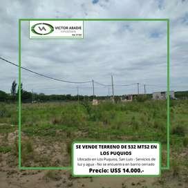 Se vende terreno de 532 mts2 en Los Puquios, San Luis