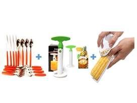 Desgranador De Mazorcas + Cubiertos Mesa + Rebanador de Piñas