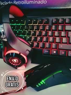 Combo Gamer Teclado, mouse y diadema