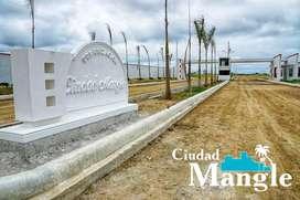 AL SUR DE MANTA, TERRENOS DE 200M2(10M X 20M) 16.000 USD, URBANIZACION PRIVADA CIUDAD MANGLE, FRENTE AL MAR, S1