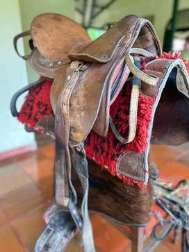 Silla de montar caballo en cuero con equipamento