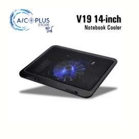 Cooler De Laptop V19 Hasta 14 Pulgadas Con Luz Led Azul