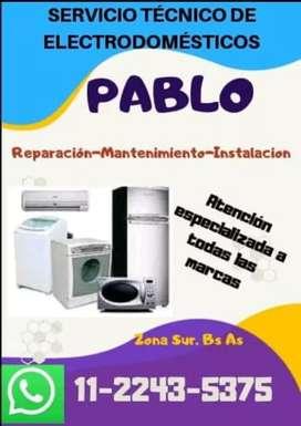 Servicio técnico Lavarropas, heladeras, a/acondicionado