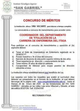 COORDINADOR  DEL DEPARTAMENTO DE TITULACION  PAR LA CARRERA DE ENFERMERIA