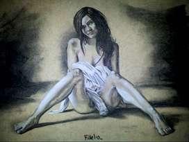 Dibujo (carbonilla y tiza sobre cartulina americana) 60x50
