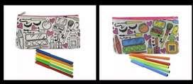 Niños Coloree pinte su cartuchera, viene con 5 Marcadores diferentes motivos
