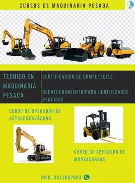 Certificaciónes en maquinaria pesada , cursos y reenteenamiento