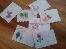 Docena de tarjetas bordadas mano, para diferentes ocasiones