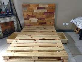Cama 2 plazas juego completo  1.40x 1.90  + 4 cajones bajo cama + respaldo