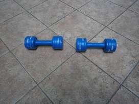mancuernas plasticas recargables hasta 3 kg